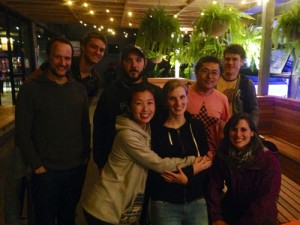 Some of the lab in 2015 at Sarah Deventer's farewell! Left to right: Stephan Leu, Dan Noble, James Baxter-Gilbert, Fonti Karr, Sarah Deventer, Feng Xu, Martin Whiting, Julia Riley. Missing: Jodie Gruber, Susie Hewlett, Patricio Lagos.