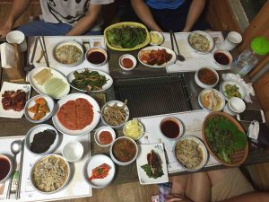 Dinner, Korean style! And this was before the eel and fish dishes were brought out!